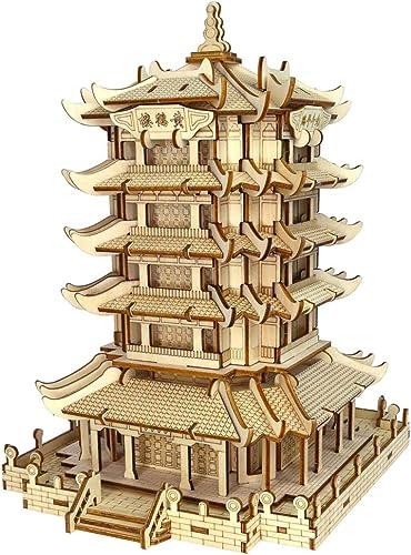 ganancia cero LINGNA Torre de la grúa Amarilla Rompecabezas de Madera 3D 3D 3D Corte por láser Modelo 3D Montaje Montaje Inteligente Rompecabezas Hogar Arte Decoración  orden ahora con gran descuento y entrega gratuita