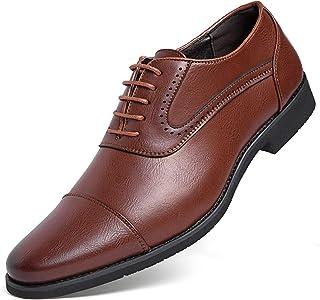 [Kitlilur] ビジネスシューズ メンズ 紳士靴 革靴 ドレスシューズ 靴 シークレット 高級レザー 外羽根 ストレートチップ 防水防滑 軽量 通気性 冠婚葬祭 ブラック ブラウン 大きいサイズ(24CM~29CM)