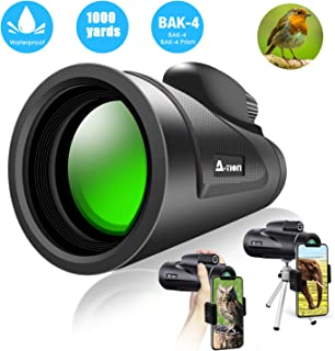 A-TION Monocular Telescope, High Power Prism Monocular Telescope, 12x50 HD Waterproof Scope with Phone Photography Adapter, Dustproof BAK4 Prism for Bird Watching Hunting Camping Travelling Scene