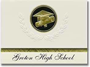 Signature Announcements Groton High School (Groton, NY) Graduation Announcements, Presidential style, Basic package of 25 Cap & Diploma Seal. Black & Gold.