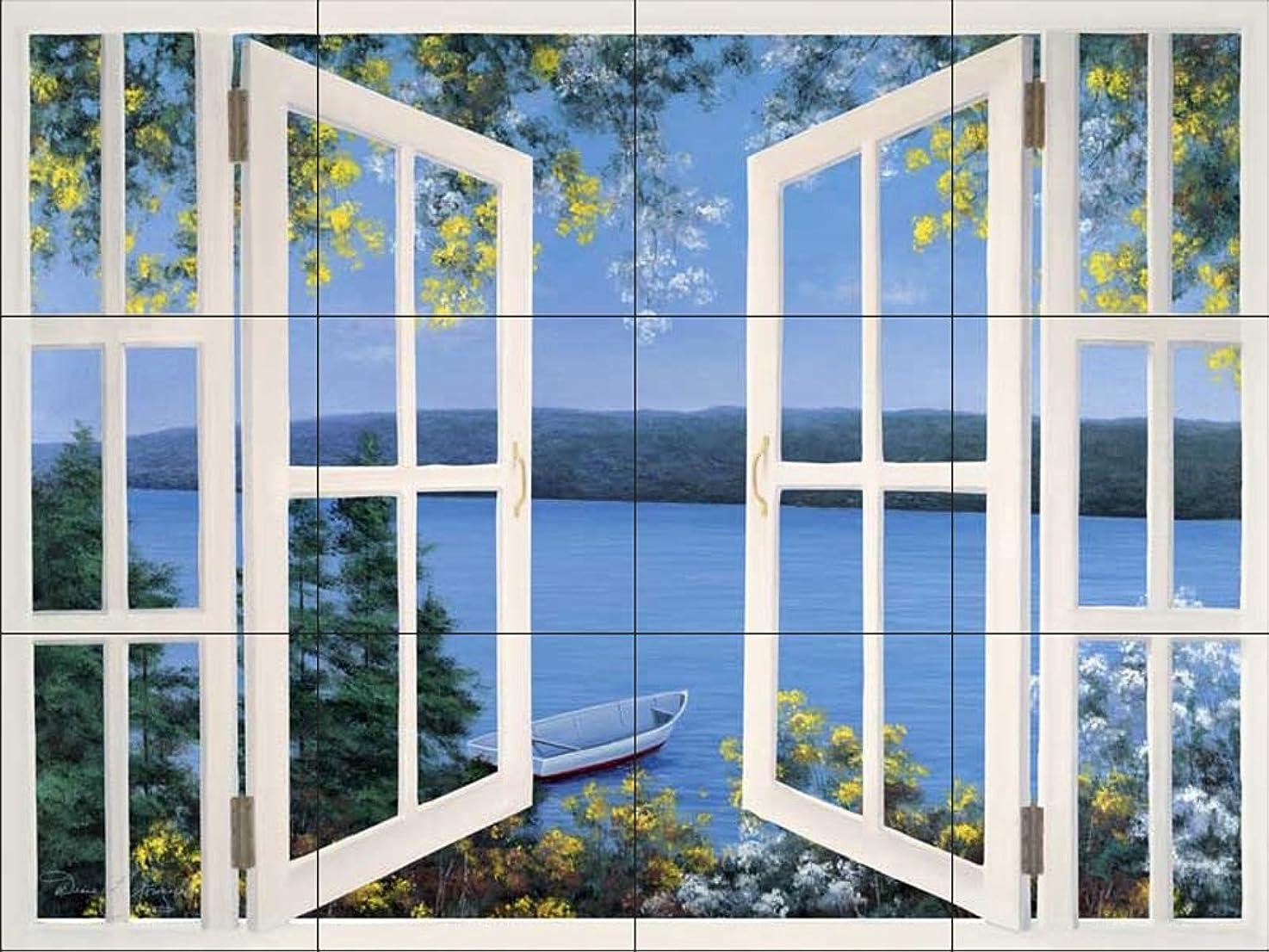 Ceramic Tile Mural - DR-Island Time with Window - by Diane Romanello - Kitchen backsplash/Bathroom Shower