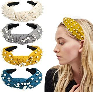 Joyeah 4 Pcs Pearls Headbands, Satin Fabric knotted headband with pearls, Topknot Headband Vintage Wide Hair Band Fashion Hair Accessories for Women and Girls