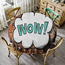 ScottDecor Jacquard Tablecloth Brick Wall Red Cracked Brick Wall British Backdrop UK English Pop Art Cloud 90s Grunge Multicolor Patterned Round Tablecloth Diameter 70
