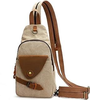KL928 Canvas Sling Bag Small Crossbody Rucksack Schulter Casual Daypack Rucksack für Herren Damen