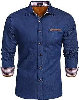 Men's Warm Heavy Long Sleeve Gold Velvet Lined Denim Shirt Jacket