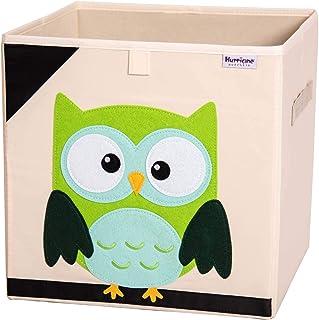 (Owl) - Hurricane Munchkin Collapsible Toy Storage Box Cube Bin Organiser for Children Toys, Stuffed Animals, Books & Clot...