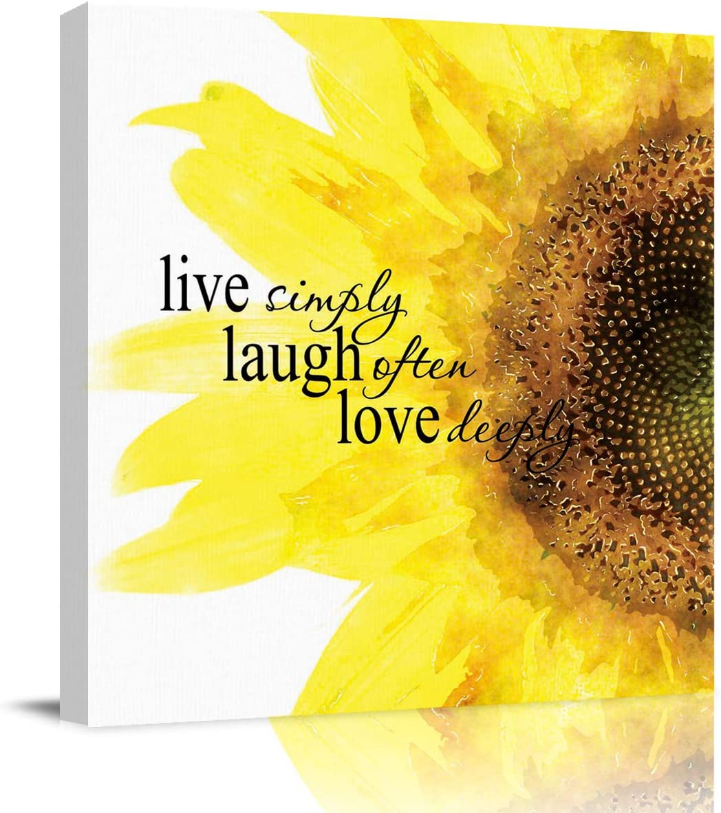 Amazon Com Wall Art Canvas Paintings Quote Live Simply Laugh Often Love Deeply With Sunflower Decor Framed Prints Ready To Hang For Living Room Office Kitchen Artwork 12x12 Inch Posters