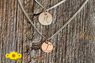 2869cac9 Initial Layered Necklaces, Best Friend Jewelry, Mother of Two Necklace,  Mixed Metal Jewelry