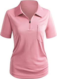 CLOVERY Women's Sportwear Polo Shirt Zip-up Pocket Short Sleeve