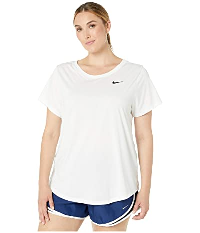 Nike Dry Legend Crew Tee (Sizes 1X-3X) (White/Black) Women
