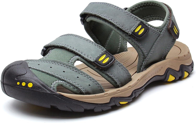 YoCool Men's Leather Fisherman Sandal Closed Toe Hiking Fishing Sport Casual