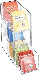 mDesign boite de rangement cuisine en plastique avec 3 tiroirs – casier de rangement pour sachets de thé, tisane, infusion...