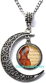 Crescent Moon,Dainty Necklace,Bridal Necklace,Violin pendant Violin necklace Violin jewelry for musician music pendant