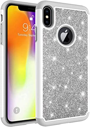 """Bling Case for Apple iPhone XS Max 6.5"""" (2018), Dual Layer Heavy Duty Protection Hard PC Soft TPU Bumper Shockproof Protective [Sparkly Glitter Shiny Texture] Hybrid Armor Defender Cover"""