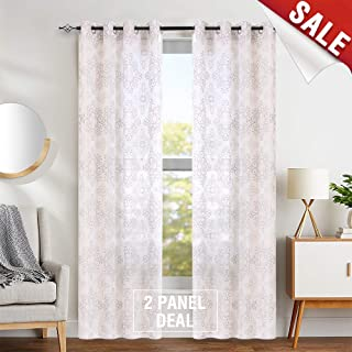 Embroidered Sheer Curtains 63 Inches Long Living Room Embroidery Curtains for Bedroom Grommet Top Taupe & Brown
