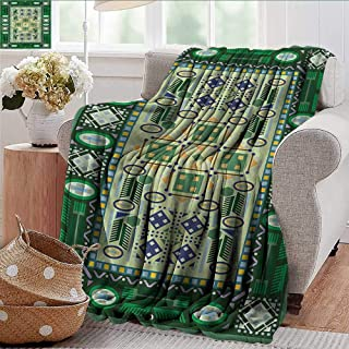 Xaviera Doherty Outdoor Blanket Afghan,Oriental Shapes Pattern Microfiber All Season Blanket for Bed or Couch Multicolor 50