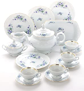 Wawel Tea with Grace 16-Piece Fine China Tea Set for Children (Violet) - Service for Four