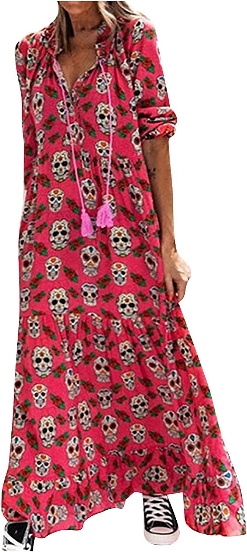 GOODTRADE8 Summer Dresses Maxi Dress Women Fashion Casual Long Sleeve V-Neck Printing Dress Loose Long Dress
