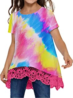 VWMYQ Girls Tie Dye Clothes Kids Casual Tunic Tops Loose Blouses T-Shirt Size 5-12 Years