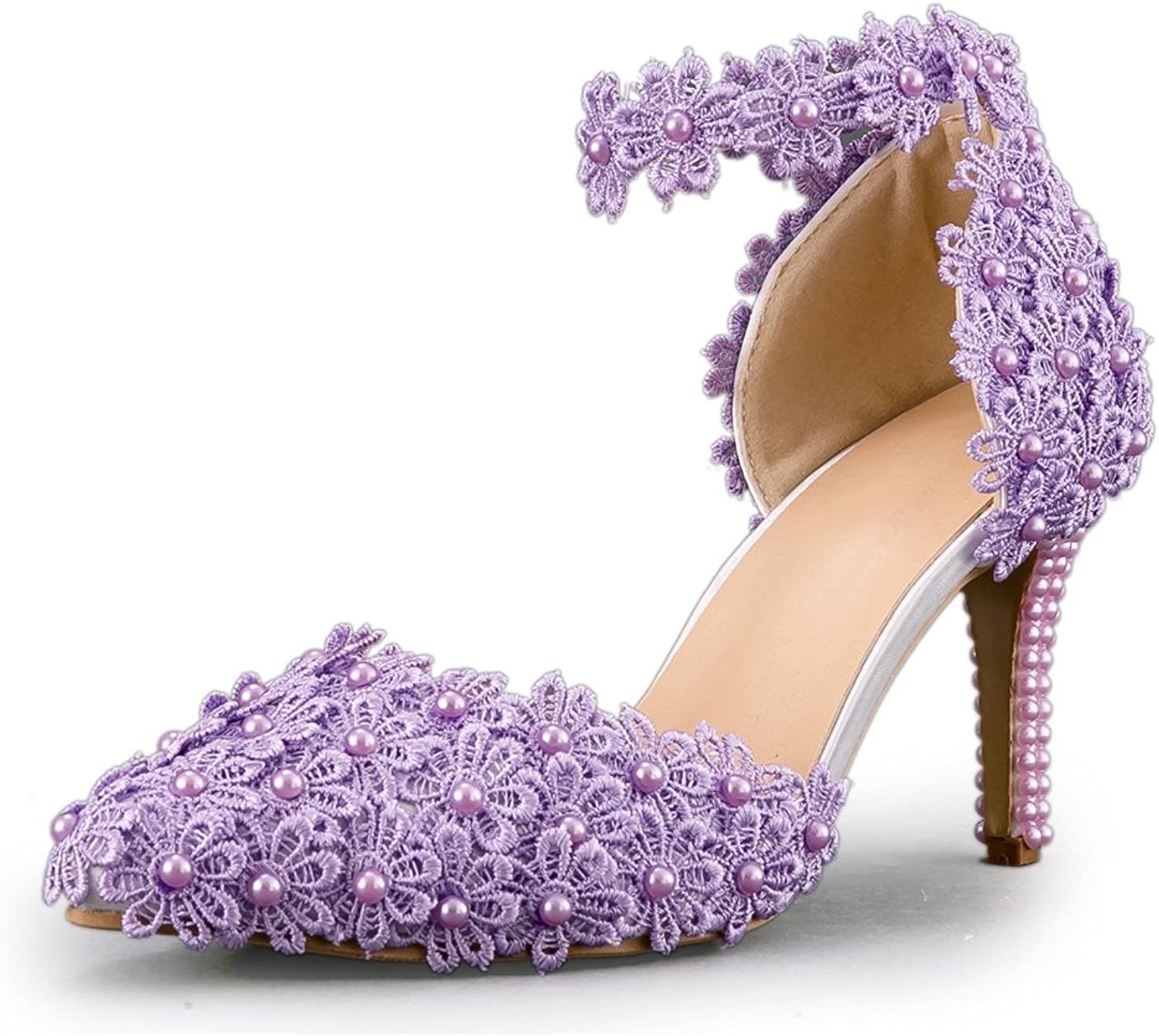 Minishion Women's Lace Flowers Studded Ankle Strap Purple Handmade Wedding shoes US 4