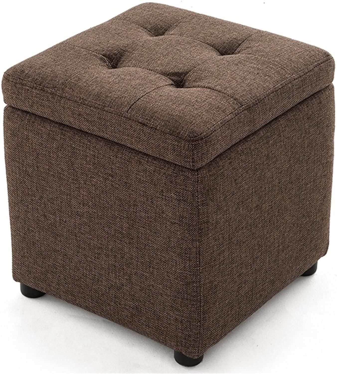 Upholstered Small Stool Pouf Storage Beanbag Footrest Linen Fabric Brown Footstool Storage Stool Sofa Dressing Change shoes Stool Sturdy and Beautiful (Size   40cm40cm40cm)