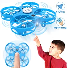 $33 » Flying Toys Kids Mini Drone, WEW T4 Hand Operated Drone with Magical Sensors, UFO Drones for Kids with Shinning LED, Gifts for Kids Induction Toy Easy Indoor with Following and Negative Mode - Blue