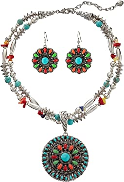 M&F Western - Multi Stone Concho Necklace/Earrings Set