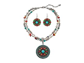 Multi Stone Concho Necklace/Earrings Set