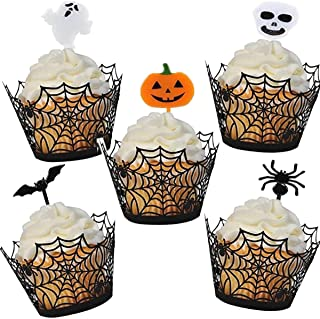 TREBO 30Pcs Halloween Cupcake decorations, Black Halloween Spider Web Cupcake wrappers with Cupcake toppers for Halloween ...
