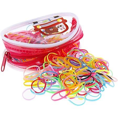 Fontee® 400 Pezzi Multi Colore Elastici per Capelli Fasce Fermacoda Capelli per Bambini Ragazze, Soprattutto per le bambine con i capelli meno voluminosi