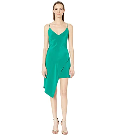 Cushnie Deep V Sleeveless Mini Dress with Asymmetrical Ove (Jade) Women