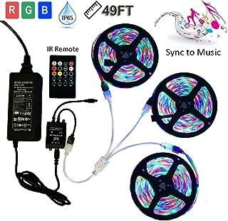 49.2ft 15M LED Strip Lights Full Kit, Music Sound Sync Sensor 3528 RGB Color Changing Rope String Light, IR Remote LED Music Controller, IP65 Waterproof (3 Pack led Strip NO White Color)