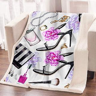 ZydusWE Fashion Women Throw Blanket Make Up Beauty Themed Bed Blanket Girls Women Perfumes Lipstick Modern Chic Pattern Stylish Blankets 48x60IN
