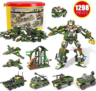 Building Blocks of Army Marine Corps War Air Force Vehicles,1298 Pcs 19 Models, Exercise N Play Kids Consturction Bricks Toy for Boys Girls