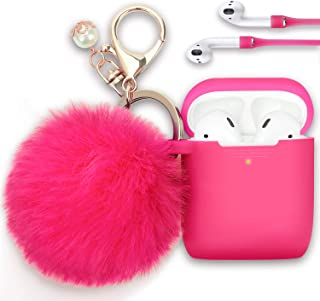 Airpods Case, Filoto Airpod Case Cover for Apple Airpods 2&1 Charging Case, Cute AirPods Silicon Case with Airpods Accessories Keychain/Skin/Pompom/Strap 2019 Summer Series (Rose Red)