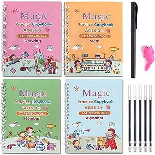 Extra Large 4pcs Magic Practice Copybook for Kids - The Print Handwiriting Workbook, Reusable Writing Practice Book, Alpha...