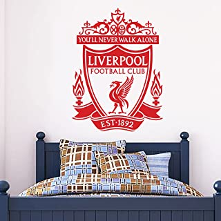 Official Liverpool Football Club - One Colour Crest Wall Decal + LFC Wall Sticker Set Print Mural Vinyl (Red, 90cm Height)