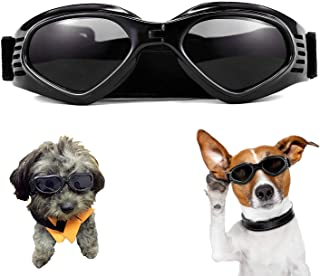 XUNKE Gafas de Sol para Perros, Perro Gafas para Perros pequeños y medianos Impermeable Plegable Protector Ocular Protección UV Antivaho (Black)