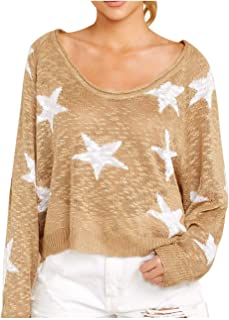 Pink Queen Women Casual Long Sleeve Poullovers Star Print Oversized Sweaters Blouse L Khaki