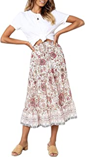 Women's Bohemian Floral Printed Elastic Waist A Line Maxi Skirt with Pockets