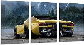 Goting Poster de voiture Jaune Super Sport Cars Art Poster Tableau Moderne Bureau Famille Chambre Chambre à coucher Poster...