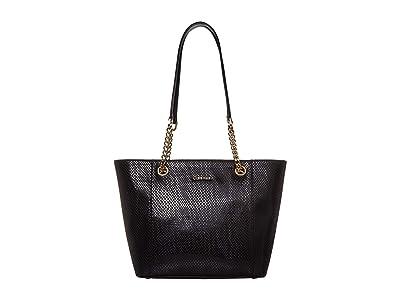 Calvin Klein Hayden Python Chainlink Tote (Black/Snake) Tote Handbags