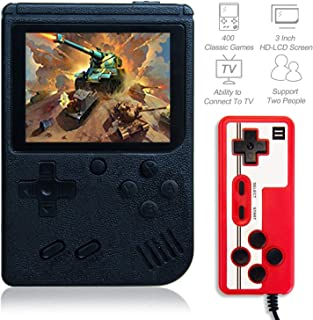 Kalolary Retro FC Handheld Game Console 400 Classic Games, 3 Inch Screen Support TV Video Game Player & 1 Joystick Controller, Birthday Presents for Kids and Adult (Black)