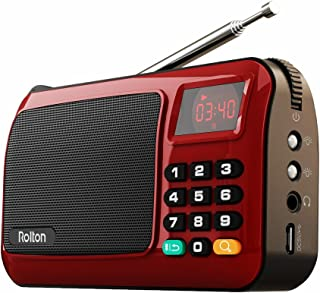 Rolton W405 Portable Mini FM Radio Speaker Music Player TF Card For PC iPod Phone with LED Display (Red)