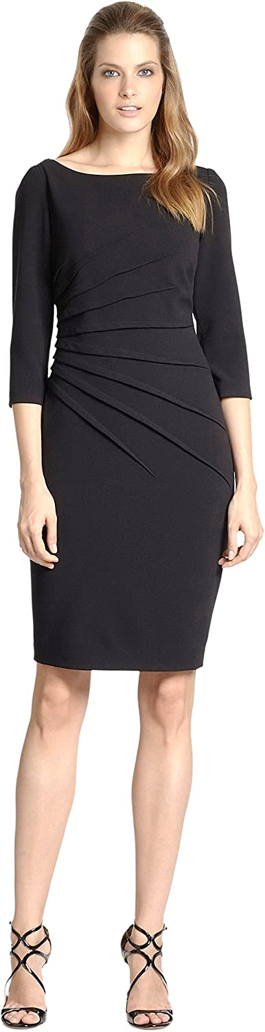 David Super beauty product restock quality top Meister Women's Pleated Front Detail Black Sz shopping Sheath Dress