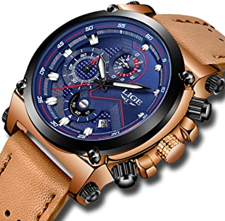 Mens Watches Fashion Leather Analog Quartz Watch Men Sport Waterproof Chronograph Luxury Brand LIGE Casual Blue Date Watch