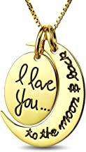 """BOOLAVARD Two Piece""""I Love You to The Moon and Back"""" Pendant Necklace + Gift Box"""
