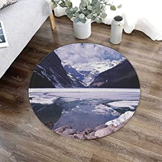 Winter Bath Round Mat,Lake Louise Alberta Canada Tourist Attraction Landscape Mountains Travel Vacation for Dining Room Bathroom Office,23.62