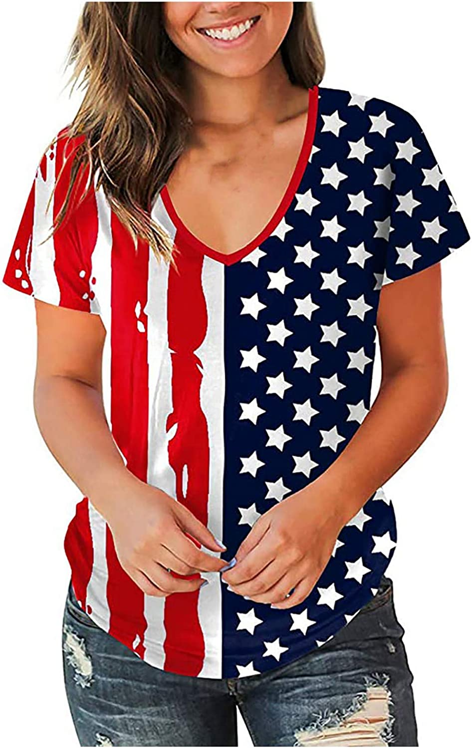 4th of July Shirts for Women Funny Striped American Flag Print Short Sleeve V Neck Tee Independence Day Patriotic Tops