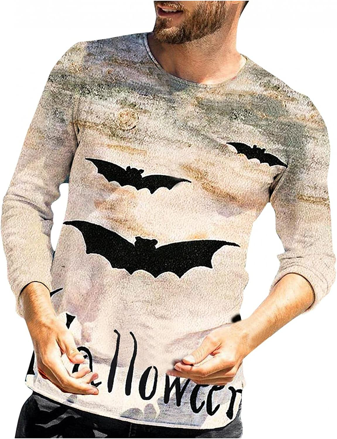 LEIYAN Halloween Muscle Shirts for Men Long Sleeve Crew Neck Novelty Funny 3D Print Tops Gym Workout Blouses S-2XL